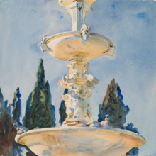 <p>John Singer Sargent (American, 1856–1925). <i>In a Medici Villa</i>, 1906. Translucent watercolor and touches of opaque watercolor with graphite underdrawing, 21<sup>3</sup>⁄<sub>16</sub> x 14<sup>3</sup>⁄<sub>8</sub> in. (53.8 × 36.5 cm). Brooklyn Museum, Purchased by Special Subscription, 09.826</p>