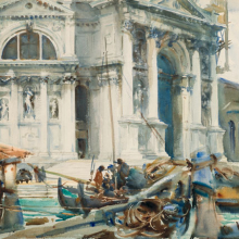<p>John Singer Sargent (American, 1856–1925). <i>Santa Maria della Salute</i>, 1904. Translucent and opaque watercolor and graphite with graphite underdrawing, 18<sup>3</sup>⁄<sub>16</sub> x 23 in. (46.2 × 58.4 cm). Brooklyn Museum, Purchased by Special Subscription, 09.838</p>