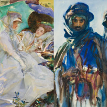 John Singer Sargent (American, 1856–1925). (left) Simplon Pass: Reading, circa 1911. Opaque and translucent watercolor and wax resist with graphite underdrawing, 201⁄16 x 141⁄16 in. (51 × 35.7 cm). Museum of Fine Arts, Boston, The Hayden Collection—Charles Henry Hayden Fund. Photograph © 2013 Museum of Fine Arts, Boston; (right) Bedouins, circa 1905–6. Opaque and translucent watercolor, 18 × 12 in. (45.7 × 30.5 cm). Brooklyn Museum, Purchased by Special Subscription, 09.814
