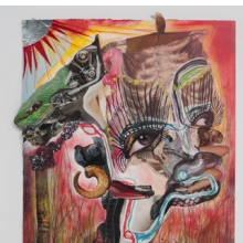 <p>Wangechi Mutu (Kenyan, b. 1972). <i>Family Tree</i>, 2012. One from a suite of thirteen mixed-media collages on paper, 20 &#215; 14<sup>1</sup>⁄<sub>2</sub> inches (50.8 &#215; 36.2 cm). Nasher Museum of Art at Duke University. Museum purchase with additional funds provided by Trent Carmichael, Blake Byrne, Marjorie and Michael Levine, Stefanie and Douglas Kahn, and Christen and Derek Wilson, 2013.1.1. Image courtesy of Susanne Vielmetter Los Angeles Projects. © Wangechi Mutu. (Photo: Robert Wedemeyer)</p>
