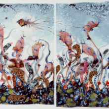 <p>Wangechi Mutu (Kenyan, b. 1972). <i>Funkalicious fruit field</i>, 2007. Ink, paint, mixed media, plastic pearls, collage on Mylar, 92 &times; 106 inches (233.7 &times; 269.24 cm) overall. Collection of Glenn Scott Wright, London. Image courtesy of Victoria Miro Gallery, London. &copy; Wangechi Mutu</p>