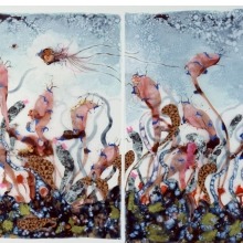 <p>Wangechi Mutu (Kenyan, b. 1972). <i>Funkalicious fruit field</i>, 2007. Ink, paint, mixed media, plastic pearls, collage on Mylar, 92 &#215; 106 inches (233.7 &#215; 269.24 cm) overall. Collection of Glenn Scott Wright, London. Image courtesy of Victoria Miro Gallery, London. © Wangechi Mutu</p>