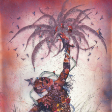 Wangechi Mutu (Kenyan, b. 1972). Le Noble Savage, 2006. Ink and collage on Mylar, 913⁄4 x 54 in. (233 × 137.2 cm). Collection of Martin and Rebecca Eisenberg, Scarsdale, New York. Image courtesy of the artist. © Wangechi Mutu