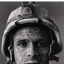 "Louie Palu (Canadian, b. 1968). U.S. Marine Gysgt. Carlos ""OJ"" Orjuela, age 31, Garmsir District, Helmand Province, Afghanistan, from Project: Home Front, 2008. Inkjet print, artist's proof, 211⁄2 x 141⁄4 in. (54.6 × 36.2 cm). The Museum of Fine Arts, Houston, gift of Joan Morgenstern. © Photographer Louie Palu"