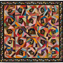 <p>Mary A. Stinson (American). <i>Crazy Quilt</i>, circa 1880. Silk, 81<sup>1</sup>⁄<sub>4</sub> x 81<sup>5</sup>⁄<sub>8</sub> in. (206.4 × 207.3 cm). Brooklyn Museum, Designated Purchase Fund, 1995.87. Brooklyn Museum photograph. Photo by Gavin Ashworth, 2012</p>