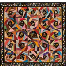 <p>Mary A. Stinson (American). <i>Crazy Quilt</i>, circa 1880. Silk, 81<sup>1</sup>&frasl;<sub>4</sub> x 81<sup>5</sup>&frasl;<sub>8</sub> in. (206.4 &times; 207.3 cm). Brooklyn Museum, Designated Purchase Fund, 1995.87. Brooklyn Museum photograph. Photo by Gavin Ashworth, 2012</p>