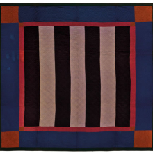 <p><i>Bars Quilt</i>, circa 1890, Pennsylvania. Cotton, wool, 83 × 82 in. (210.8 × 208.3 cm). Brooklyn Museum, Gift of Mr. and Mrs. H. Peter Findlay, 77.122.3. Brooklyn Museum photograph. Photo by Gavin Ashworth, 2012</p>
