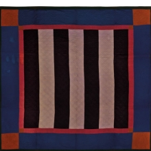 <p><i>Bars Quilt</i>, circa 1890, Pennsylvania. Cotton, wool, 83 &times; 82 in. (210.8 &times; 208.3 cm). Brooklyn Museum, Gift of Mr. and Mrs. H. Peter Findlay, 77.122.3. Brooklyn Museum photograph. Photo by Gavin Ashworth, 2012</p>