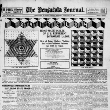 "<p>""Home-Made Quilts of U.S. Represent $675,000,000 in Labor."" <i>The Pensacola Journal</i>. February 24, 1907. Library of Congress, Chronicling America, Washington, D.C.</p>"
