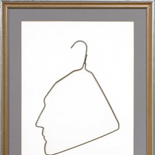 <p>Ai Weiwei (Chinese, b. 1957). <i>Profile of Marcel Duchamp in a Coat Hanger</i>, 1986. Wire clothes hanger, hanger: 15 × 11 in. (38.1 × 27.9 cm), frame: 27 × 20 in. (68.6 × 50.8 cm). Collection of Larry Warsh. © Ai Weiwei. Photo: Tim Nighswander/IMAGING4ART</p>