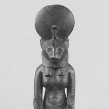<p>Egypt. <i>Seated Statuette of Sakhmet</i>, 664–332 B.C.E. Bronze, 7 × 1<sup>3</sup>⁄<sub>4</sub> in. (17.8 × 4.5 cm). Brooklyn Museum, Charles Edwin Wilbour Fund, 08.480.28</p>