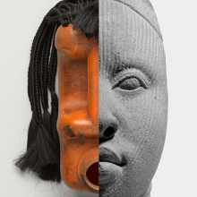 Romuald Hazoumé (Beninois, born 1962). Fiegnon (detail), 2011. Porto-Novo, Ouémé Department, Benin. Plastic jerry can, synthetic hair, copper wire, 11 × 8 × 81⁄2 in. (27.9 × 20.3 × 21.6 cm). Caroline A. L. Pratt Fund, 2014.32.2. © Romuald Hazoumé; Unidentified Yoruba artist. Fragment of a Head (detail), 1100–1500 C.E. Ife, Osun State, Nigeria. Terracotta, 6 × 31⁄4 x 33⁄4 in. (15.2 × 8.3 × 9.5 cm). Private collection, L54.5 (Photos: Brooklyn Museum)