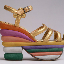 <p>Salvatore Ferragamo (Italian, 1898–1960). Platform Sandal, 1938. Leather, cork. The Metropolitan Museum of Art, New York, Gift of Salvatore Ferragamo, 1973 (1973.282.2). Image copyright © The Metropolitan Museum of Art. Image source: Art Resource, NY</p>