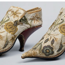 <p>French. Shoes, 1690&ndash;1700. Silk, leather. The Metropolitan Museum of Art, New York, Rogers Fund, 1906 (06.1344a, b). Image copyright &copy; The Metropolitan Museum of Art. Image source: Art Resource, NY</p>