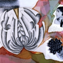 <p>Judy Chicago (American, born 1939). <em>Study for Virginia Woolf plate</em>, 1977. Ink, photo, and collage on paper, approx. 24 x 36 in. (61 x 91.4 cm). © 2016 Judy Chicago / Artists Rights Society (ARS), New York. (Photo: © Donald Woodman)</p>