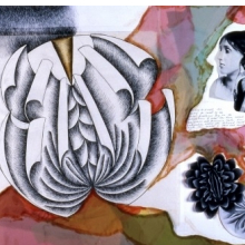 <p>Judy Chicago (American, born 1939). <em>Study for Virginia Woolf plate</em>, 1977. Ink, photo and collage on paper, approx. 24 x 36 in. (61 x 91.4 cm). &copy; 2016 Judy Chicago / Artists Rights Society (ARS), New York<br /> (Photo: &copy; Donald Woodman)</p>