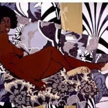 Mickalene Thomas (American, b. 1971). A Little Taste Outside of Love, 2007. Acrylic, enamel, and rhinestones on wood enamel. Brooklyn Museum, Gift of Giulia Borghese and Designated Purchase Fund, 2008.7a-c