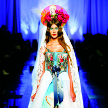 <p>&ldquo;Apparitions&rdquo; gown from Jean Paul Gaultier&rsquo;s &ldquo;Virgins (or Madonnas)&rdquo; women&rsquo;s haute couture spring-summer collection of 2007. &ldquo;Celestial&rdquo; print satin strapless sheath; bustier-style top with &ldquo;hologram&rdquo; embroidery, bows; ivory silk tulle overskirt; &ldquo;hologram,&rdquo; ivory lace veil. &copy; Patrice Stable/Jean Paul Gaultier</p>