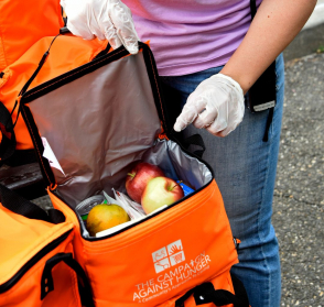 <p>A person with gloved hands holds open an orange insulated bag containing fruit and other food items</p>