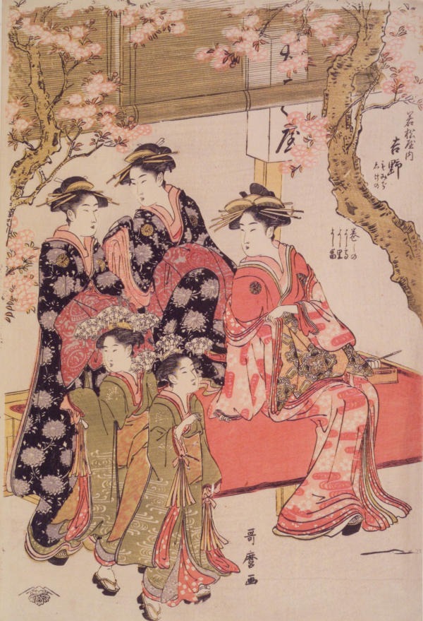 <p>Kitagawa Utamaro: Courtesans Strolling Beneath Cherry Trees Before the Daikokuya Teahouse</p>