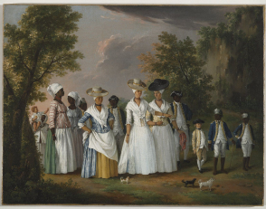 <p>Agostino Brunias:  Free Women of Color with Their Children and Servants in a Landscape</p>