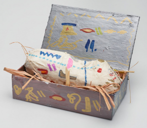 <p>Brooklyn Museum student Nairobi Nunez: sculpture consisting of an object inside a rectangular box</p>