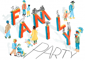 <p>Hand-painted picture, on a white background, of the letters F-A-M-I-L-Y with people of various ages walking or being pushed in a wheelchair through and around them. In orange, light and dark blue, yellow, olive green, and beige, with black accents</p>