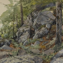 <p>William Trost Richards (American, 1833–1905). <i>Woodland Boulders</i>, circa 1877–78. Watercolor over graphite on paper. Brooklyn Museum, Bequest of Mrs. William T. Brewster through the National Academy of Design, 53.228</p>