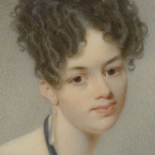 <p>Thomas Seir Cummings (American, born England, 1804–1894). <i>Portrait of Elizabeth Stirling Foote</i>, 1832. Watercolor on ivory portrait in brass locket with glass lenses on both sides, image (sight): 2<sup>11</sup>⁄<sub>16</sub> x 2<sup>3</sup>⁄<sub>16</sub> in. (6.8 × 5.6 cm), frame: 3 × 2<sup>5</sup>⁄<sub>8</sub> in. (7.6 × 6.7 cm). Brooklyn Museum, Museum Collection Fund, 16.687.1</p>
