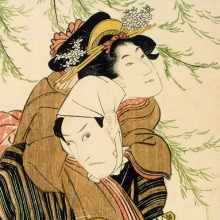 <p>Utagawa Toyokuni (1769–1825). <em>Actors Iwai Kumesaburō I and Ichikawa Yaozō III as Ohan and Chōemon</em>, circa 1800. From an untitled series of actors in <em>nagaban</em> format. Color woodcut. Chazen Museum of Art, Gift of Linda and John Comstock, 2003.48.11</p>