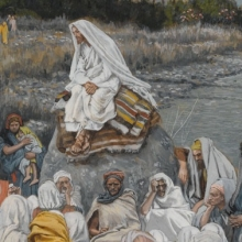 <p>James Tissot (French, 1836–1902). <i>Jesus Sits by the Seashore and Preaches</i>, 1886–96. Opaque watercolor over graphite on gray wove paper, 10<sup>3</sup>⁄<sub>16</sub> x 7<sup>9</sup>⁄<sub>16</sub> in. (25.9 × 19.2 cm). Brooklyn Museum, Purchased by public subscription, 00.159.109</p>