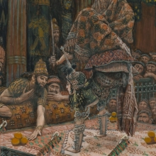 <p>James Tissot (French, 1836&ndash;1902). <i>The Daughter of Herodias Dancing</i>, 1886&ndash;96. Opaque watercolor over graphite on gray wove paper, 9<sup>5</sup>&frasl;<sub>16</sub> x 7<sup>5</sup>&frasl;<sub>16</sub> in. (23.7 &times; 18.6 cm). Brooklyn Museum, Purchased by public subscription, 00.159.131</p>