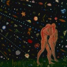 <p>Fred Tomaselli (American, b. 1956). <i>Untitled (Expulsion)</i>, 2000. Leaves, pills, insects, acrylic, photocollage, and resin on wood panel, 84 &times; 120 in. (213.4 &times; 304.8 cm). Collection of Peter Norton</p>