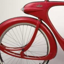 "<p>Benjamin Bowden (American, born England, 1907–1998). <i>""Spacelander"" Bicycle</i>, prototype, designed 1946, manufactured 1960. Manufactured by Bomard Industries. Grand Haven, Michigan. Fiberglass, metal, glass, rubber, fox fur. Marie Bernice Bitzer Fund, 2001.36</p>"