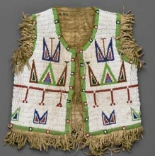 <p>Sioux artist. Boy's Vest, late 19th century. Northern Plains. Hide, glass beads, 13<sup>1</sup>⁄<sub>2</sub> x 12<sup>1</sup>⁄<sub>4</sub> in. (34.3 × 31.1 cm). Brooklyn Museum, Brooklyn Museum Collection, X98</p>