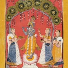 <p><i>Krishna Fluting for the Gopis</i>, page from an illustrated <i>Dashavatara</i> series. Northern India (Punjab Hills, Mankot), circa 1730. Opaque watercolor and gold on paper, 10<sup>1</sup>&frasl;<sub>4</sub> x 8 in. (26 &times; 20.3 cm). Collection of Catherine and Ralph Benkaim</p>