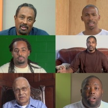 Chris Johnson (American, b. 1948) and Hank Willis Thomas (American, b. 1976), with Kamal Sinclair (American, b. 1976) and Bayeté Ross Smith (American, b. 1976). Stills from Question Bridge: Black Males, 2012. Multichannel video installation. Courtesy of the artists and Jack Shainman Gallery, New York