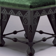 <p>Attributed to Daniel Pabst (American, born Germany, 1826–1910). <i>Side Chair</i>, circa 1880, Philadelphia. Ebonized cherry, later upholstery, 37<sup>1</sup>⁄<sub>8</sub> x 21<sup>3</sup>⁄<sub>4</sub> x 19 in. (94.3 × 55.2 × 48.3 cm). Brooklyn Museum, Marie Bernice Bitzer Fund, 2002.11</p>