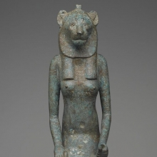 Seated Wadjet. From Egypt. Late Period, Dynasty 26 to Dynasty 31, 664–332 B.C.E. Bronze, 20 1⁄2 x 4 7⁄8 x 9 1⁄2 in. (52.1 × 12.4 × 24.1 cm). Brooklyn Museum, Charles Edwin Wilbour Fund, 36.622