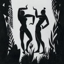 <p>Richard Bruce Nugent (American, 1906–1987). <i>Dancing Figures</i>, circa 1935. Black ink and graphite on cream wove paper, 14<sup>3</sup>⁄<sub>4</sub> x 10<sup>1</sup>⁄<sub>2</sub> in. (37.5 × 26.7 cm). Brooklyn Museum, Gift of Dr. Thomas H. Wirth, gift of Frederick J. Adler, by exchange, bequest of Richard J. Kempe, by exchange, and gift of Abraham Walkowitz, by exchange, 2008.50.6. © Thomas H. Wirth</p>