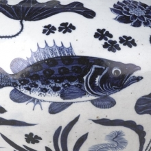 <p><em>Wine Jar with Fish and Aquatic Plants</em>. China. Yuan dynasty, 1279–1368. Porcelain with underglaze cobalt blue decoration, 111<sup>5</sup>⁄<sub>16</sub> x 13<sup>3</sup>⁄<sub>4</sub> in. (30.3 × 34.9cm). Brooklyn Museum, The William E. Hutchins Collection, Bequest of Augustus S. Hutchins, 52.87.1</p>