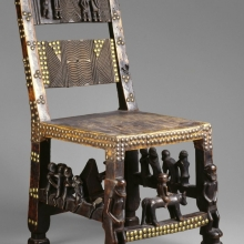 <p>Left: Unidentified Chokwe artist.<em> Chief&rsquo;s Chair</em>, 19th century, Angola. Copper alloy, animal hide, wood, 26<sup>3</sup>&frasl;<sub>4 </sub>x 12 &times; 15<sup>1</sup>&frasl;<sub>3</sub> in. (67.9 &times; 30.5 &times; 39.4 cm). Brooklyn Museum, Museum Expedition 1922, Robert B. Woodward Memorial Fund, 22.187; Center: Gon&ccedil;alo Mabunda (Mozambican, b. 1975). <em>Harmony Chair</em>, 2009, Maputo, Mozambique. Welded weapons (handguns, rifles, land mines, bullets, machine gun belts, rocket-propelled grenades), iron alloy, 48<sup>1</sup>&frasl;<sub>16</sub> x 38<sup>3</sup>&frasl;<sub>16</sub> x 29<sup>15</sup>&frasl;<sub>16</sub> in. (122 &times; 97 &times; 76 cm). Brooklyn Museum, Bequest of Samuel E. Haslett, by exchange; gift of Mrs. Morris Friedsam, Georgine Iselin, and Mrs. Joseph M. Schulte, by exchange; Designated Purchase Fund 2013.26.2. &copy; Gon&ccedil;alo Mabunda; Right: Cheick Diallo (Malian, born 1960). <em>Sansa Chair</em>, 2012, Bamako, Mali. Steel, nylon, 31<sup>1</sup>&frasl;<sub>2</sub> x 31<sup>1</sup>&frasl;<sub>2</sub> x 35<sup>7</sup>&frasl;<sub>16</sub> in. (80 &times; 80 &times; 90 cm). Brooklyn Museum, Bequest of Mrs. Carl L. Selden, by exchange; gift of Mary Babbott Ladd and Frank L. Babbott, Jr. in memory of their father, Frank L. Babbott; gift of John D. Rockefeller, Jr., and Mrs. H. A. Metzger, by exchange; Ella C. Woodward Memorial Fund, John B. Woodward Memorial Fund, and Designated Purchase Fund, 2013.26.1. &copy; Cheick Diallo. (Photos: Brooklyn Museum)</p>