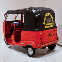 <p>SAHMAT [Safdar Hashmi Memorial Trust] (founded 1989). <em>Slogans for Communal Harmony (Auto-rickshaw project)</em>, 1992/2013. Rickshaw, steel with vinyl top; documentary photographs and video; rickshaw: 65<sup>1</sup>/<sub>2</sub> &times; 50<sup>1</sup>/<sub>2</sub> &times; 108 in. (166.4 &times; 128.3 &times; 274.3 cm), cover: 30<sup>1</sup>/<sub>2</sub> &times; 45 &times; 60<sup>1</sup>/<sub>2</sub> in. (77.5 &times; 114.3 &times; 153.7 cm). The David and Alfred Smart Museum of Art, The University of Chicago. (Photo: &copy; 2015 courtesy of The David and Alfred Smart Museum of Art, The University of Chicago)</p>