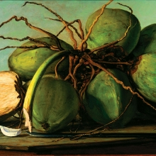 Francisco Oller (Puerto Rican, 1833–1917). Still Life with Coconuts (Naturaleza muerta con cocos), circa 1893. Oil on canvas, 273⁄4 x 441⁄4 in. (70.5 × 112.4 cm), framed. Private collection, New Jersey