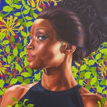 Kehinde Wiley (American, b. 1977). Shantavia Beale II, 2012. Oil on canvas, 60 × 48 in. (152.4 × 121.9 cm). Collection of Ana and Lenny Gravier. © Kehinde Wiley. (Photo: Jason Wyche, courtesy of Sean Kelly, New York)