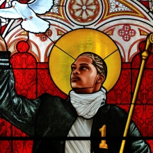 <p>Kehinde Wiley (American, b. 1977). <em>Saint Remi</em>, 2014. Stained glass, 96 &times; 43<sup>1</sup>&frasl;<sub>2</sub> in. (243.8 &times; 110.5 cm). Courtesy of Galerie Daniel Templon, Paris. &copy; Kehinde Wiley</p>