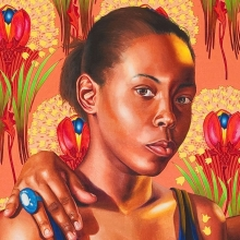 <p>Kehinde Wiley (American, b. 1977). <em>The Sisters Zénaïde and Charlotte Bonaparte</em>, 2014. Oil on linen, 83<sup>1</sup>⁄<sub>2</sub> x 63 in. (212 × 160 cm). Collection of Nathan Serphos and Glenn Guevarra, New York. © Kehinde Wiley. (Photo: Robert Wedemeyer, courtesy of Roberts & Tilton, Culver City, California)</p>