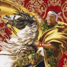 <p>Kehinde Wiley (American, b. 1977). <em>Napoleon Leading the Army over the Alps</em>, 2005. Oil on canvas, 108 &times; 108 in. (274.3 &times; 274.3 cm). Collection of Suzi and Andrew B. Cohen. &copy; Kehinde Wiley. (Photo: Sarah DiSantis, Brooklyn Museum)</p>