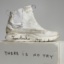 <p>Nike x Tom Sachs. NikeCraft Lunar Underboot Aeroply Experimentation Research Boot Prototype, 2008–12. Collection of the artist. (Photo: Courtesy American Federation of Arts)</p>