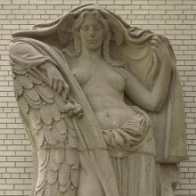 Adolph Alexander Weinman (American, born Germany, 1870–1952). Night, Clock Figure from Pennsylvania Station, 31st to 33rd Streets between 7th and 8th Avenues, NYC, circa 1910. Tennessee marble, 132 x 86 x 42 in. (335.3 x 218.4 x 106.7 cm). Brooklyn Museum, Gift of Lipsett Demolition Co. and Youngstown Cartage, 66.250.1